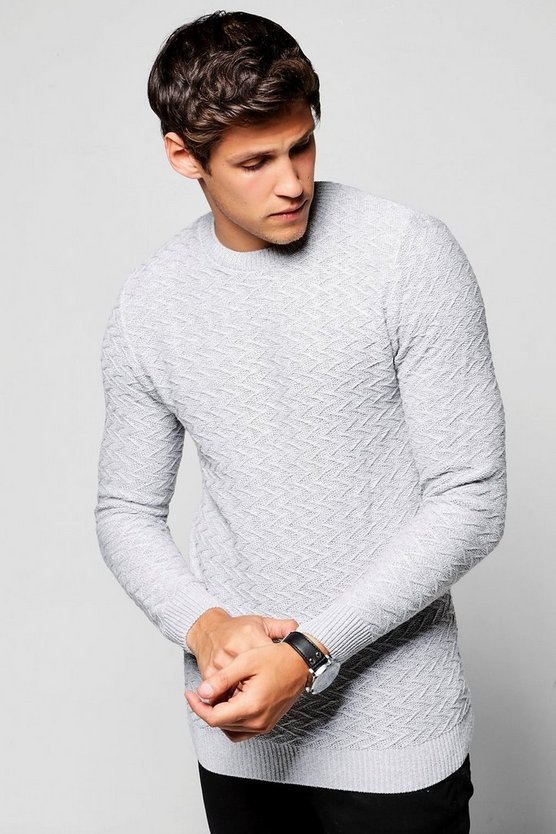 Grey Crew Neck Chevron Knit Jumper