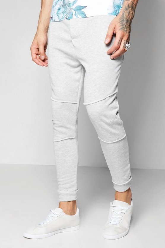 Slim Fit Panelled Joggers With Raw Hem