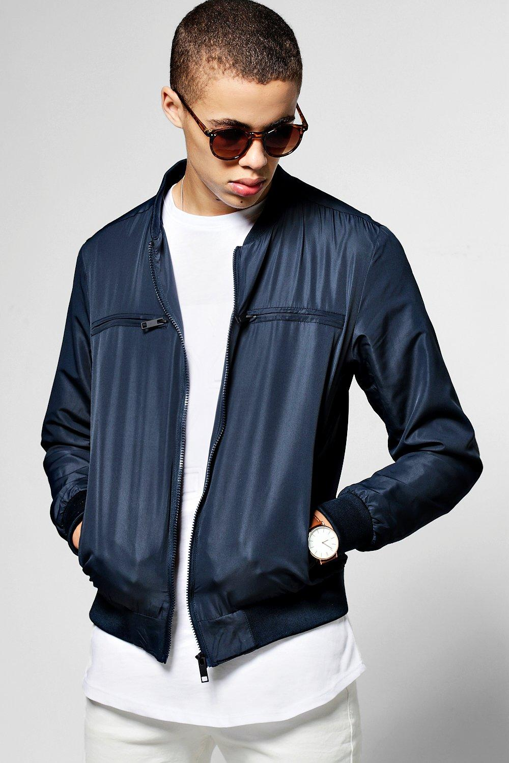 Polyester Bomber Jacket With Chest Zips Boohoo Jaket Boomber Blue Navy