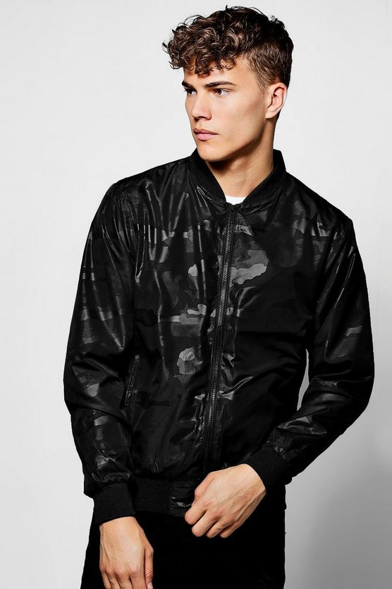 Black Camo Printed Bomber Jacket