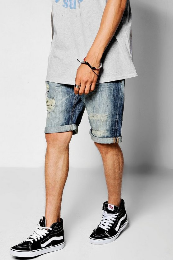 Loose Fit Skater Denim Shorts with Distressing