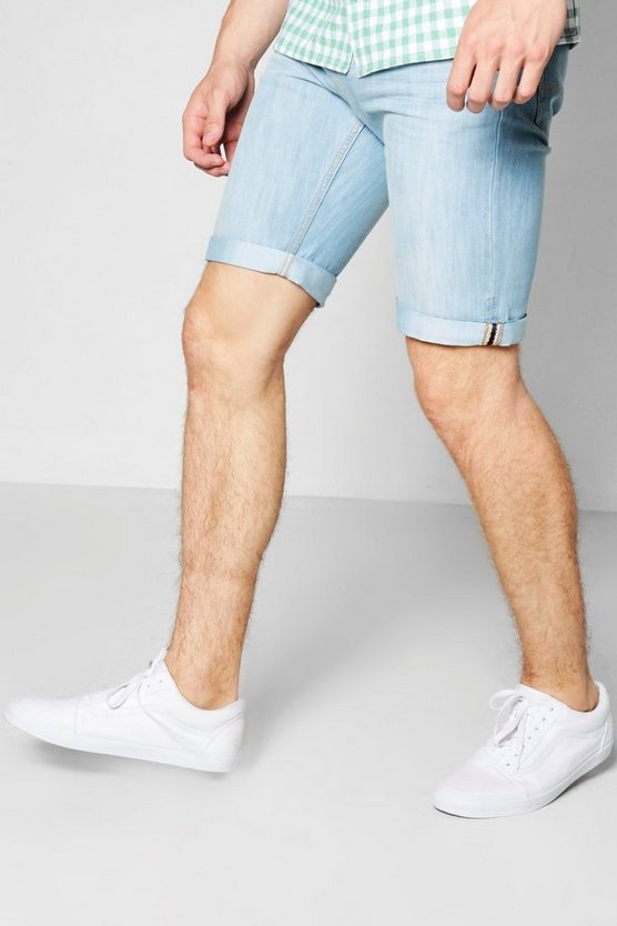 Pale Blue Slim Fit Denim Shorts With Turn Ups