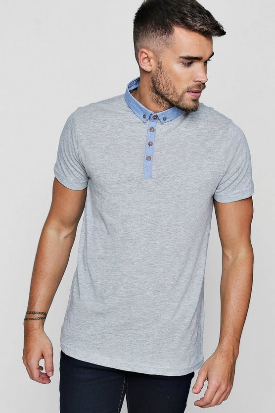 Ecru Chambray Collar Jersey Polo
