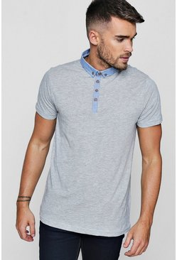 Mens Ecru Chambray Collar Jersey Polo
