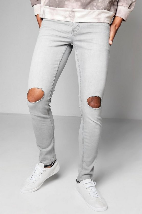 Grey Wash Skinny Fit Denim Jeans