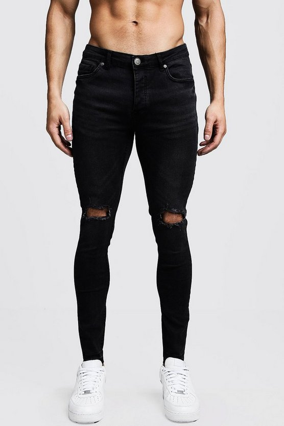 Mens Black Black Skinny Fit Ripped Knee Jeans