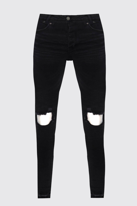rasgadas con Jeans skinny negros negro rodillas qYpnxgIwvn