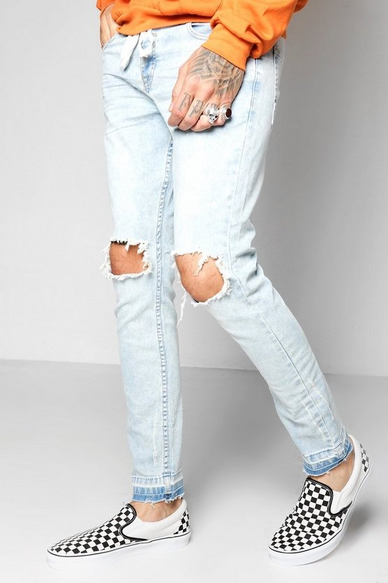 Pale Blue Distressed Skinny Jeans