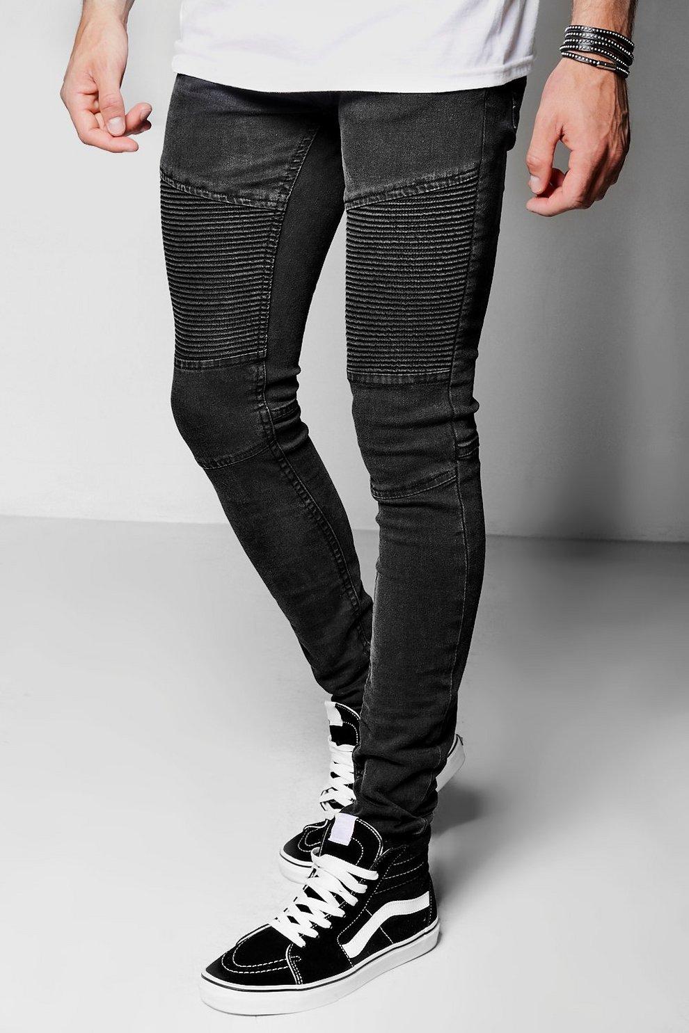 1ac1cbe6cc39e Mens Black Black Skinny Fit Biker Jeans With Zip Cuff