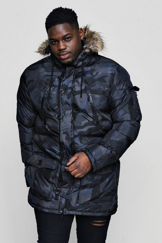 Big And Tall Black Camo Padded Parka With Faux Fur Hood
