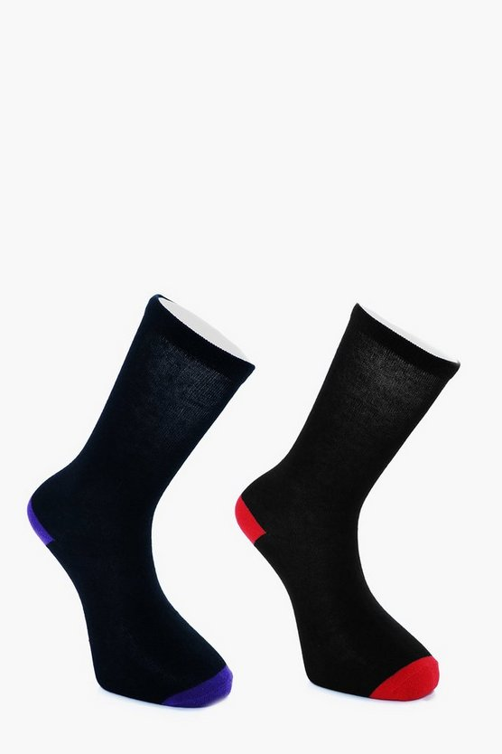 2 Pack Contrast Heel + Toe Sock