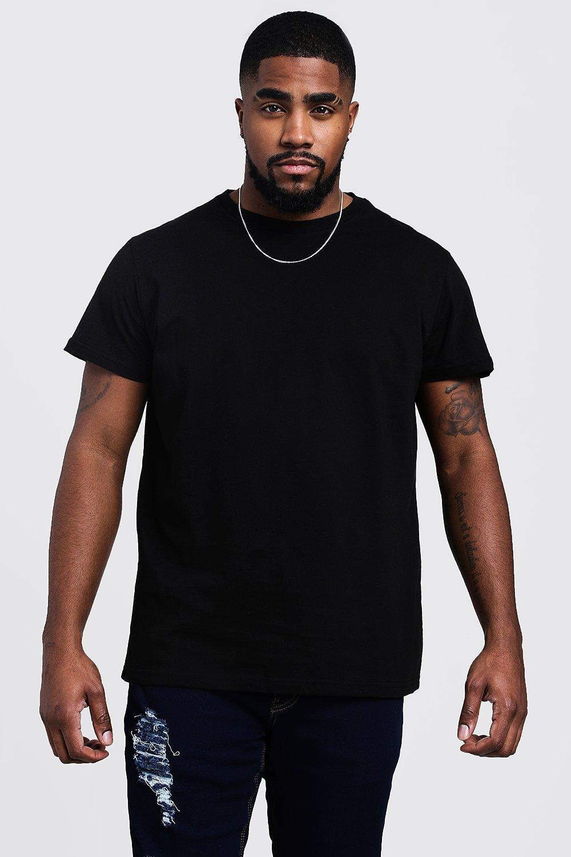 mens plus size longline basic t-shirt - black