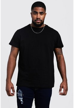 Big and Tall Longline Basic T-Shirt, Black, Uomo