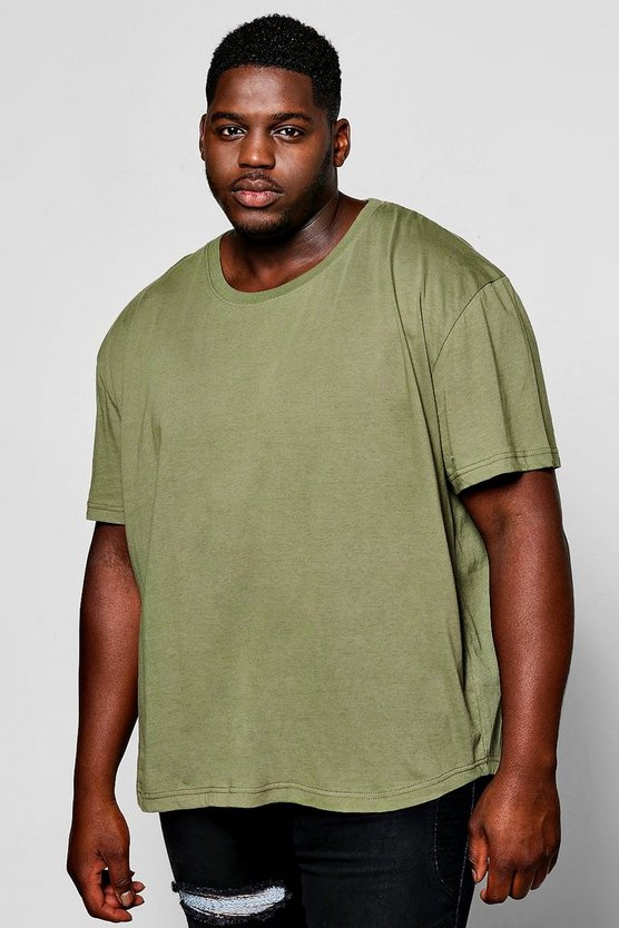 Big And Tall Oversized Curved Hem T-Shirt