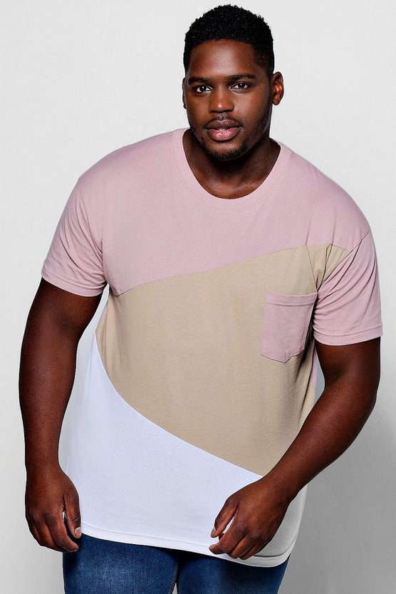 big and tall t-shirt colorblock