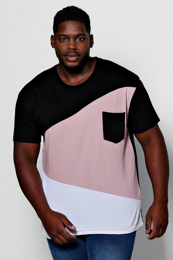 Mens Black Big And Tall Spliced Colour Block T-Shirt