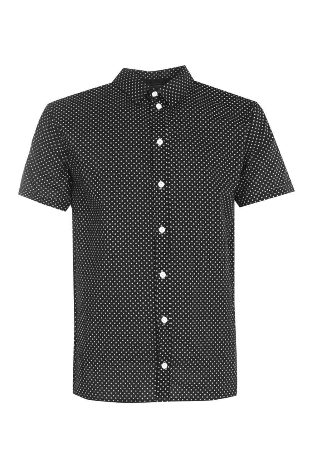 Boohoo mens polka dot print short sleeve shirt ebay for Mens polka dot shirt short sleeve