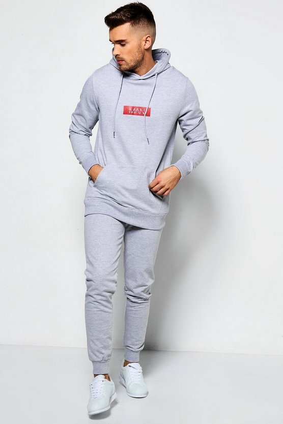 Skinny MAN Print Hooded Tracksuit