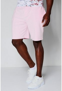 Mens Pink Velour Mid Length Shorts