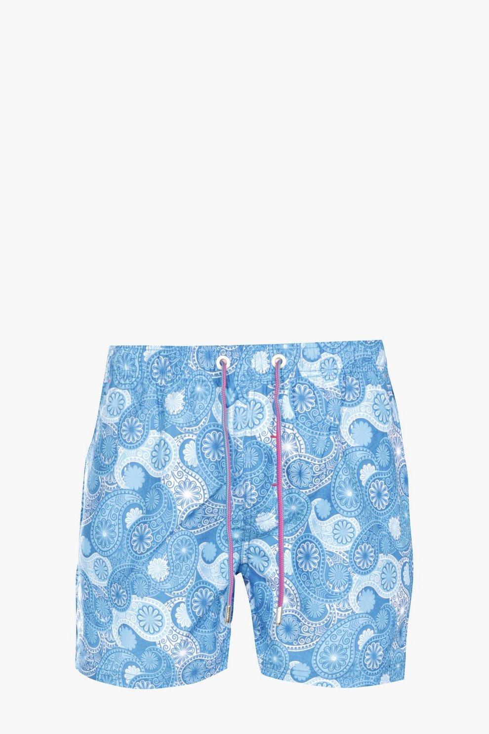 e27f42126bf6e Blue Paisley Print Swim Short | Boohoo