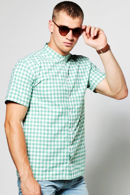 Boohoo mens gingham short sleeve grandad collar shirt ebay Mens grandad collar shirt