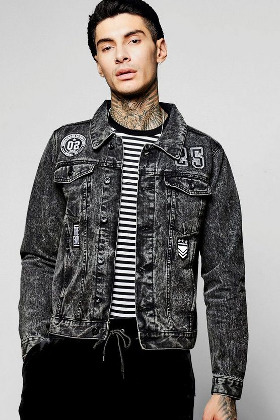 Badge Denim Jacket in Acid Wash