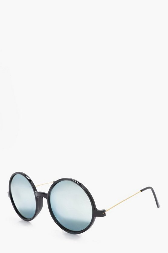 Round Frame Sunglasses With Gold Lense