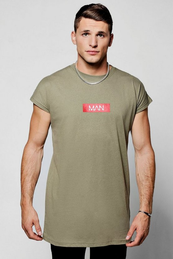 MAN Red Box Longline Cap Sleeved T-Shirt