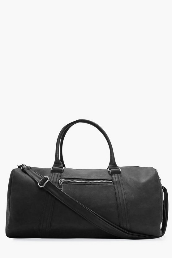 Mens Black Smart PU Holdall Bag