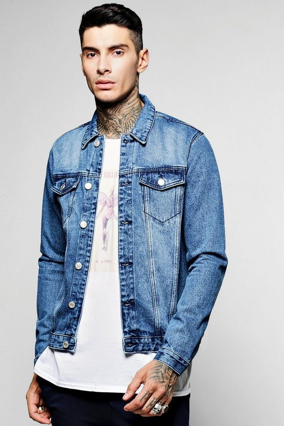 Mid Blue Wash Double Pocket Denim Jacket