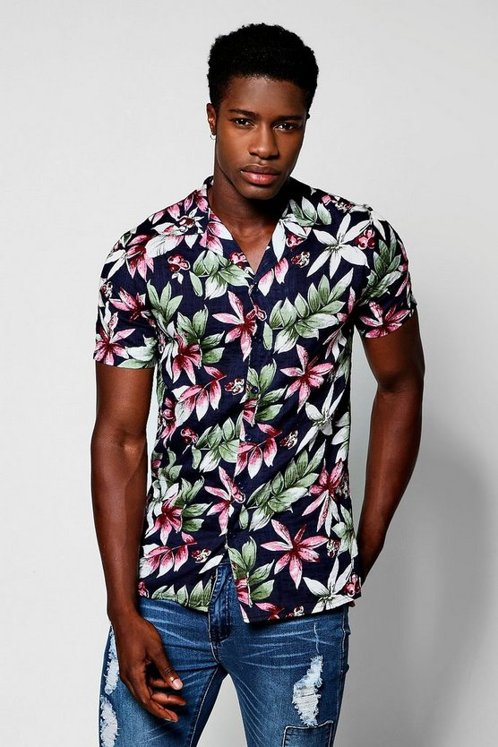 Navy Tropical Floral Print Short Sleeve Revere Shirt