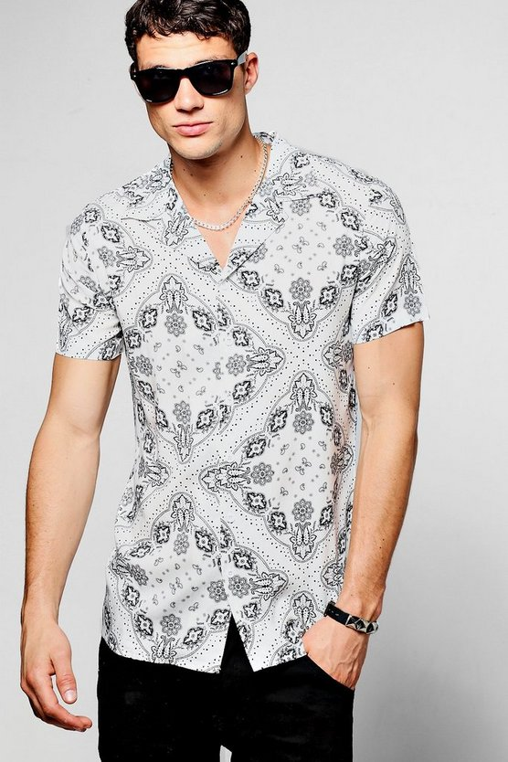 White Mandala Print Short Sleeve Revere Shirt