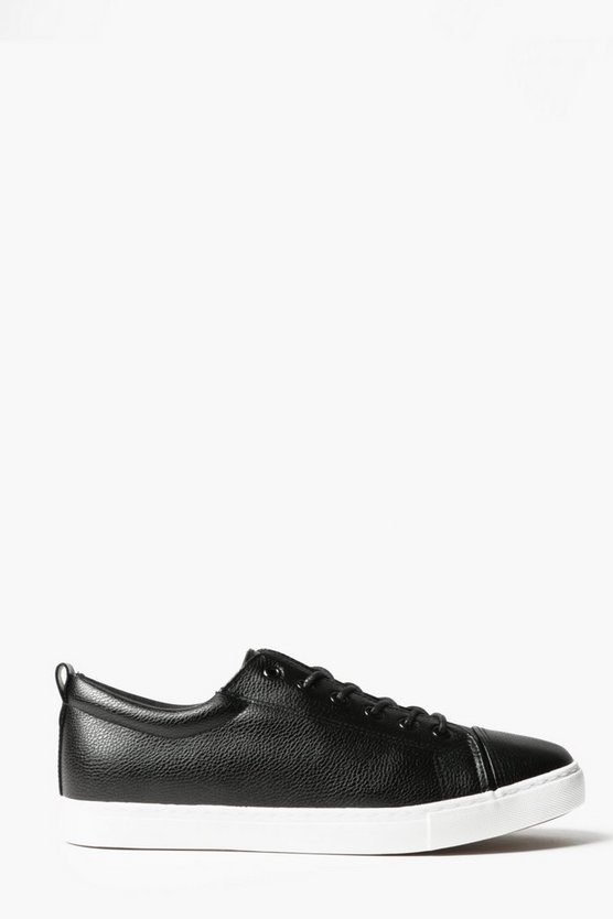 Black PU Lace Up Trainers