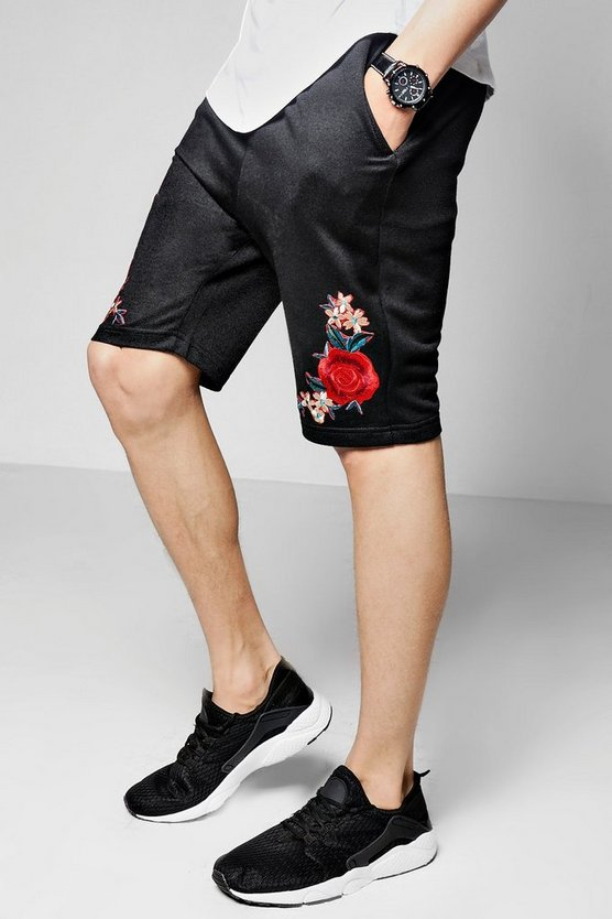 Rose Embroidered Mid Length Jersey Short