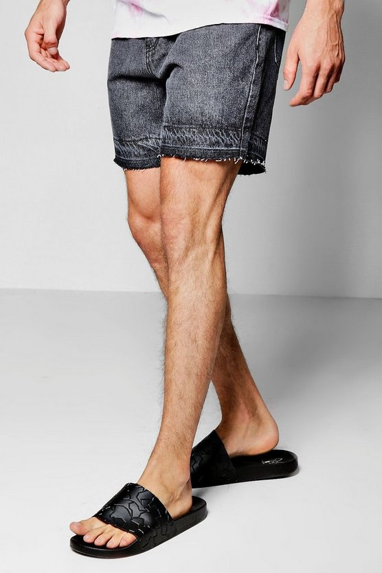 Slim Fit Acid Wash Denim Shorts With Raw Hem