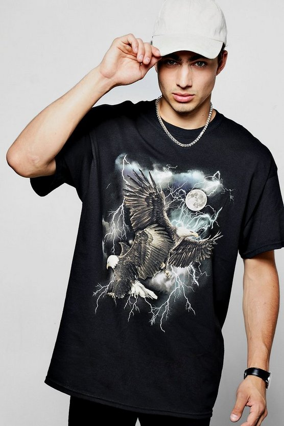 Oversized Eagle Print T Shirt