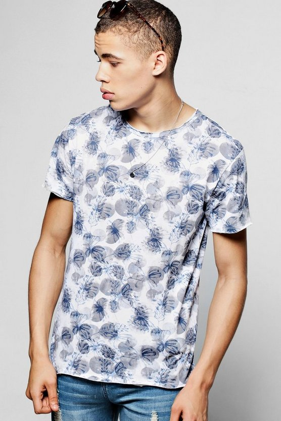 All Over Floral And Leaf Print T-Shirt