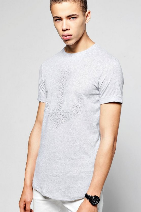 Short Sleeve Anchor Embossed T-Shirt Curve Hem