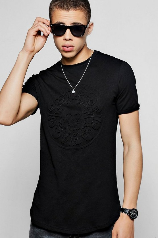 Short Sleeve Skull Embossed Curved Hem T-Shirt