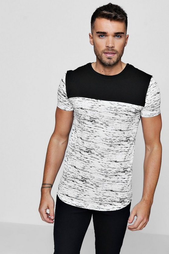 Short Sleeve Space Dye Panel T-Shirt