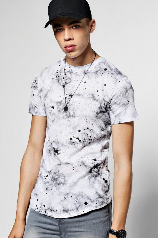 Short Sleeve Paint Splatter Print T-Shirt