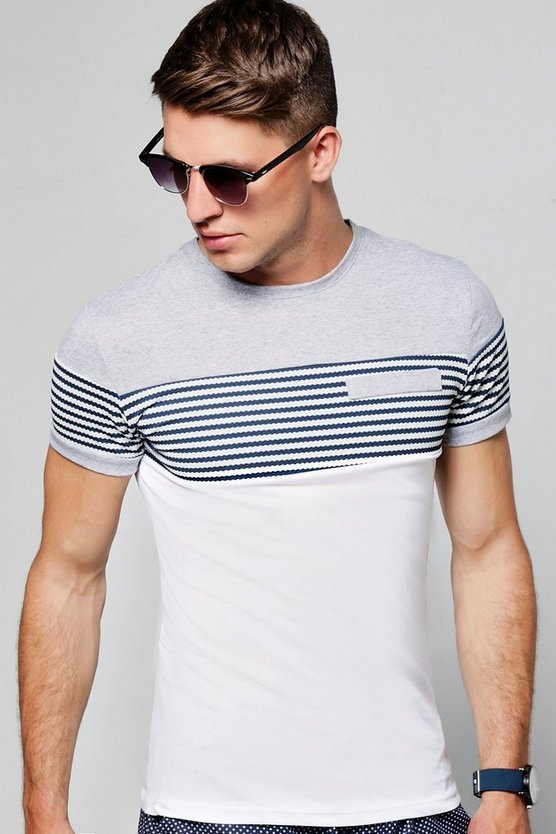 Short Sleeve Crew Neck Contrast Panel T-Shirt