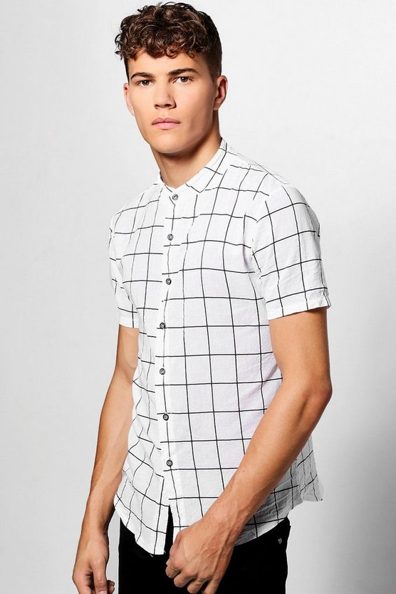 Short Sleeve Check Grandad Collar Shirt