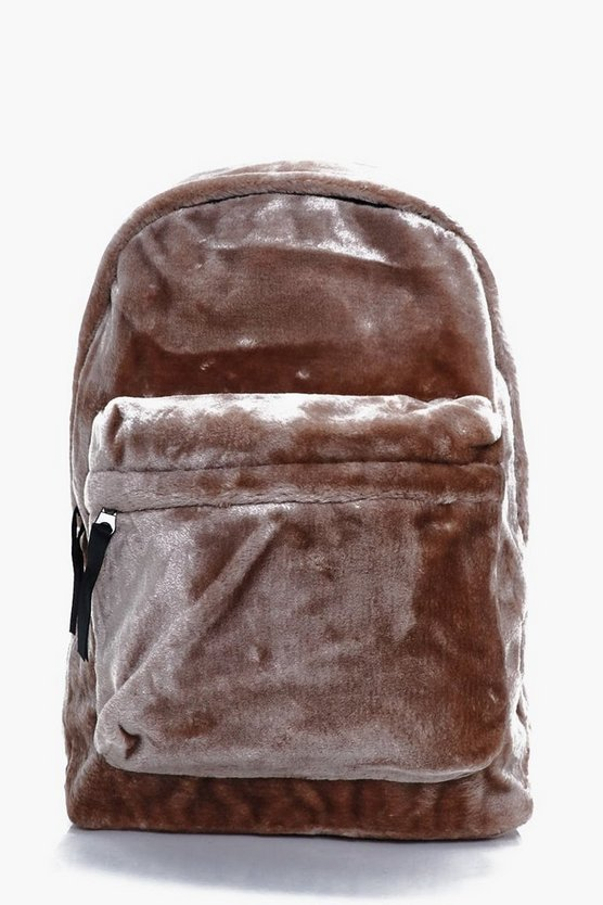 Taupe Faux Fur Backpack