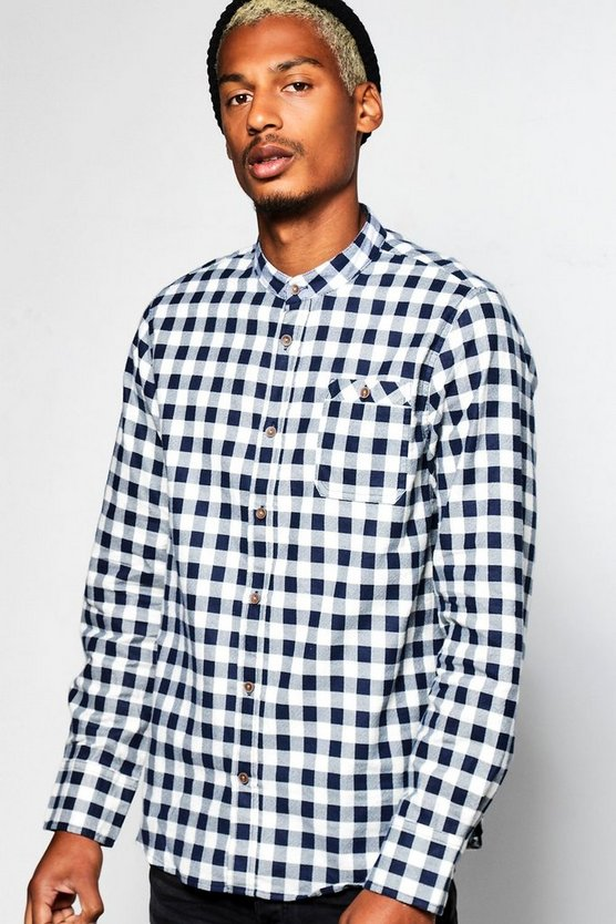 Long Sleeve Grandad Collar Check Shirt
