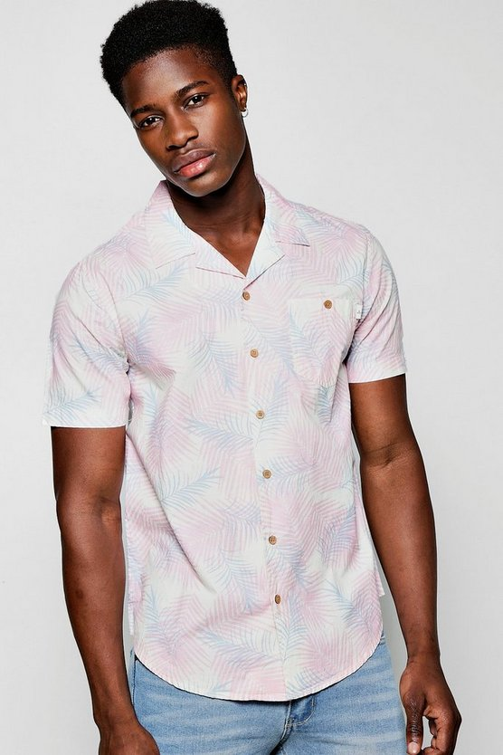 Floral Print Short Sleeve Shirt With Revere Collar