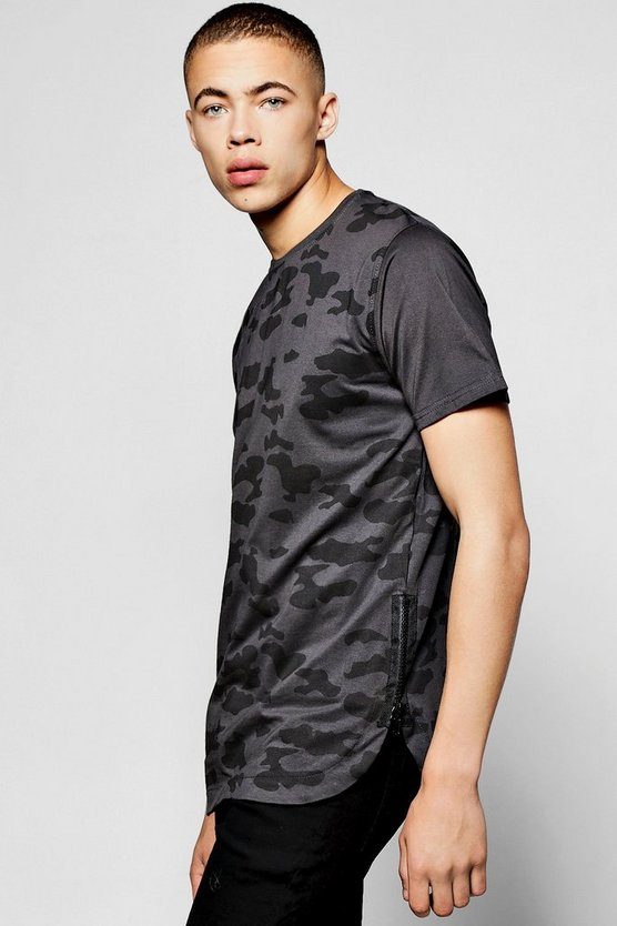 Camo T Shirt With Rib Panel & Scoop Hem