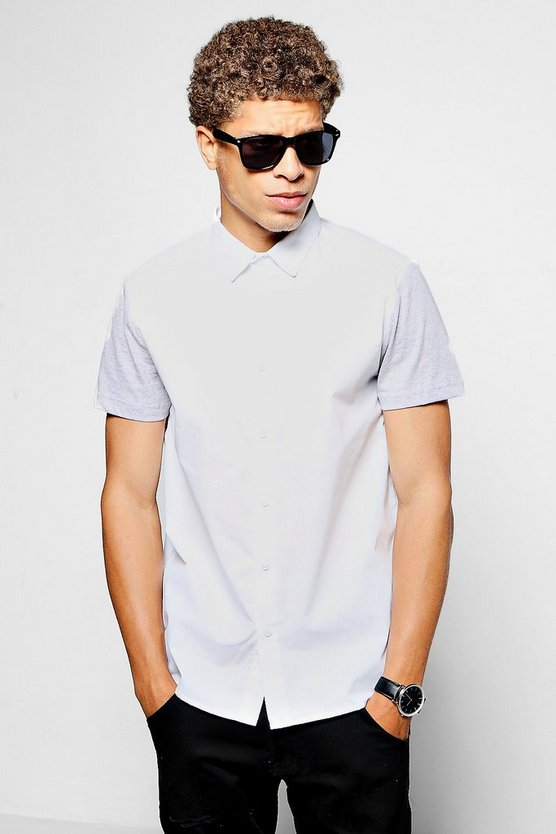 White Contrast Jersey Short Sleeve Shirt