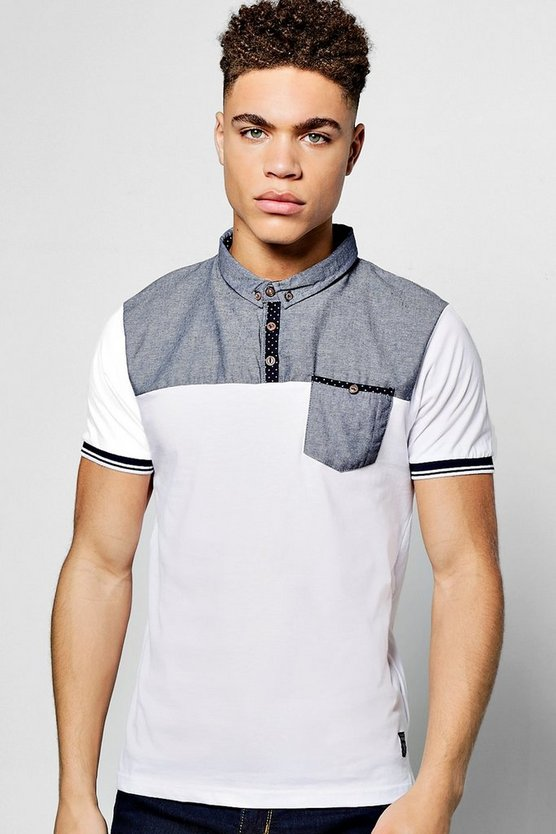 Grey Short Sleeve Chambray Yoke Polo