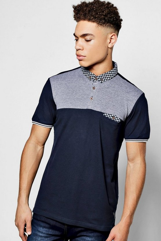 Navy Short Sleeve Contrast Yoke Polo